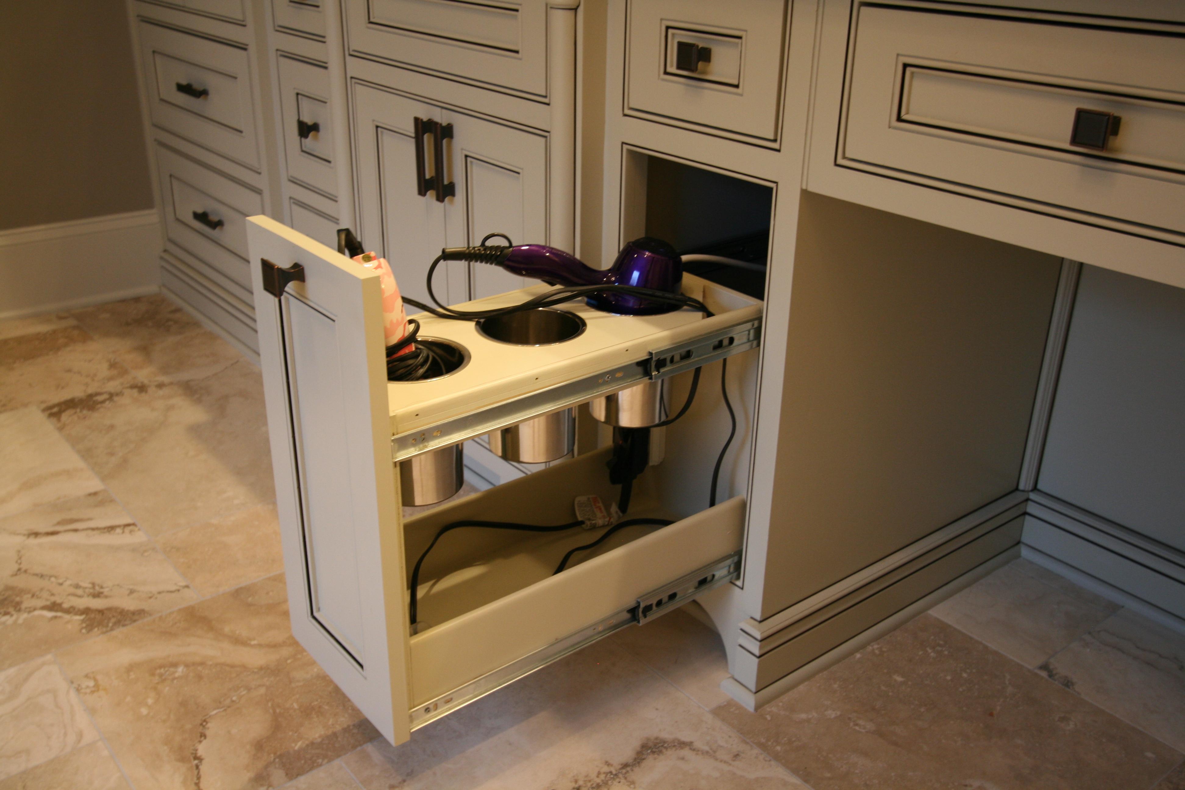 Master bath storage solution keystone remodeling - Bathroom vanity drawer organizers ...